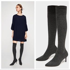 NEW ZARA Gray over the knee high boots gray